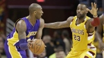 Cleveland Cavaliers' LeBron James guards Los Angeles Lakers' Kobe Bryant in the second half of an NBA basketball game in Cleveland on Wednesday, Feb. 10, 2016. (AP / Tony Dejak)