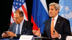 U.S. Secretary of State John Kerry, right, and Russian Foreign Minister Sergey Lavrov attend a news conference after the International Syria Support Group (ISSG) meeting in Munich, Germany, Friday, Feb. 12, 2016. (AP Photo / Matthias Schrader)