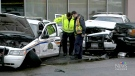 An RCMP officer was in a Surrey courtroom on Friday to describe the aftermath of a frightening incident in which a man rammed his SUV into a parked police cruiser, injuring herself and another Mountie.
