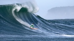 Nic Lamb rides a wave during the fourth heat of the Mavericks surfing contest Friday, Feb. 12, 2016, in Half Moon Bay, Calif. Lamb won the contest. (Ben Margot / AP)