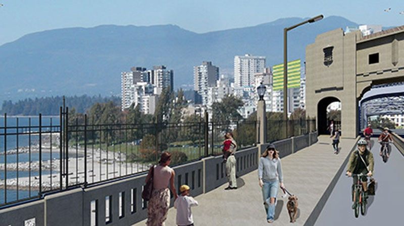 The suicide prevention barrier going up on the Burrard Street Bridge is seen in this artist's rendering.