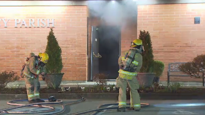A fire was sparked at Our Lady of Mercy Parish near 10th Avenue and Kingway in Burnaby on March 1, 2016. (CTV)