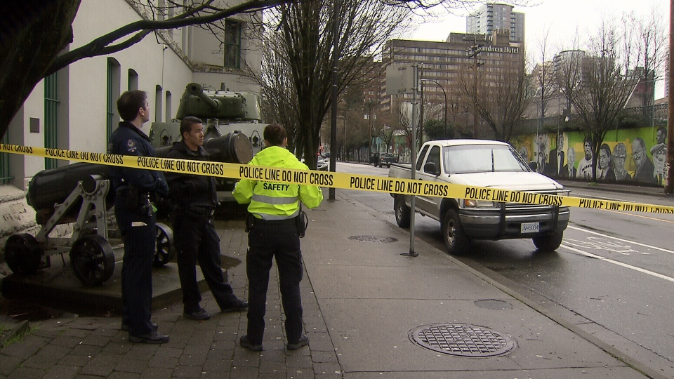 Traffic was being diverted at a major intersection in downtown Vancouver after a possible explosives device was found inside a vehicle after a traffic stop. March 2, 2016. (CTV News).