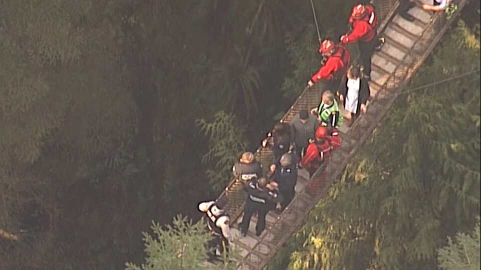 A young man is dead after disappearing into the waters below Lynn Canyon Park in North Vancouver on March 28, 2016. (CTV /Chopper 9)