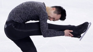 Patrick Chan, of Canada, competes during the free skate program in the World Figure Skating Championships, Friday, April 1, 2016, in Boston. (AP Photo / Steven Senne)