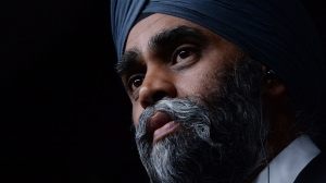 Defence Minister Harjit Sajjan holds a press conference at National Defence Headquaters in Ottawa on Wednesday, April 6, 2016.  (Sean Kilpatrick / THE CANADIAN PRESS)