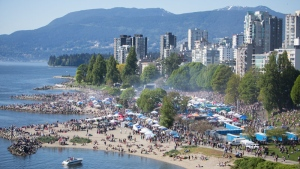 Thousands of people packed Vancouver's Sunset Beach to take part in 4/20 events. (CTV/Matt Bourne)