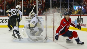 Washington Capitals right wing T.J. Oshie starts to celebrate his goal against Pittsburgh Penguins goalie Matt Murray and Kris Letang during the second period of Game 1 in the NHL hockey Stanley Cup Eastern Conference semifinals in Washington on Thursday, April 28, 2016. (AP / Pablo Martinez Monsivais)