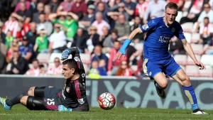 Leicester City's Jamie Vardy, right, at the Stadium of Light, Sunderland, England, on April 10, 2016. (Scott Heppell / AP)
