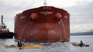 A group of protesters with yellow flags delayed the docking of a large tanker, paddling dangerously close before the port authority stepped in with a warning. 