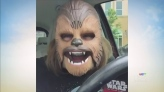 Woman can't contain laughter over Chewbacca mask