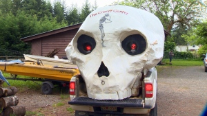 "Comox Valley-based artist Miles Elliot has created what he calls the ""creepy camper,"" an old camper made into a giant skull with light-up red eyes. Elliot says he was looking for a way to stand out while attending arts festivals. May 20, 2016. (CTV Vancouver Island)"