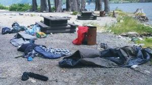 School officials in Surrey, B.C., believe the carnage of camping equipment was left behind by teens celebrating high school graduation.