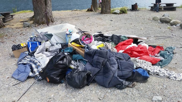 School officials in Surrey, B.C., believe the carnage of camping equipment was left behind by teens celebrating high school graduation. (B.C. Toyota 4WD Facebook group)