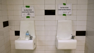 Drinking fountains are marked 'Do Not Drink Until Further Notice' at Flint Northwestern High School in Flint, Mich. on May 4, 2016. (AP / Carolyn Kaster)
