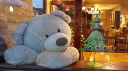 It wasn't your typical kidnapping. A Metro Vancouver coffee shop asked the public for help solving a bear-y concerning abduction, and their request was rewarded when Bearamel Macchiatto was returned late Friday night. (Photos courtesy of Facebook).