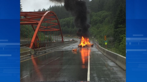 Traffic on the Sea-to-Sky Highway slowed to a crawl Saturday afternoon while a flaming sports car burned itself out. (Instagram/gregsanko)
