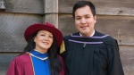 Jocelyne Robinson now has a PhD in education, while son Randy holds a degree in law. (Handout).