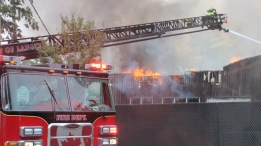 Dozens of firefighters were called in to put out a blaze at a commercial building in Langley on Thursday, June 23, 2016. (Shane MacKichan / CTV Vancouver)