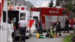 A four-year-old was rushed to hospital after falling from a third-floor condo in Langley on Thursday, June 23, 2016. (CTV)