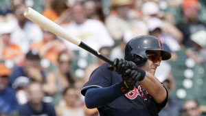 Cleveland Indians' Lonnie Chisenhall triples against the Detroit Tigers during the eighth inning of a baseball game in Detroit on Sunday, June 26, 2016. (AP / Duane Burleson)