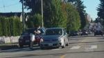 Pedestrian dodges car: Dashcam captures near miss