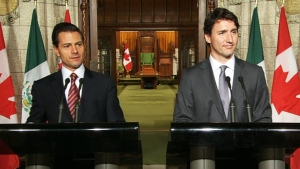 Prime Minister Justin Trudeau and Mexican President Enrique Pena Nieto hold a joint news conference in Ottawa on Tuesday, June 28, 2016