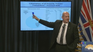 B.C. Finance Minister Mike de Jong  shares newly collected data on real estate transactions in the province. July 7, 2016. (CTV)