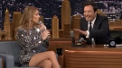 Celine Dion appears on The Tonight Show with host Jimmy Fallon