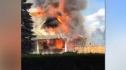 Eight fire trucks were called in to battle the flames after a propane tank ruptured. (CTV)