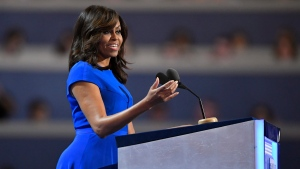 First Lady Michelle Obama speaks during the first day of the Democratic National Convention in Philadelphia, on Monday, July 25, 2016. (AP Photo/Mark J. Terrill)