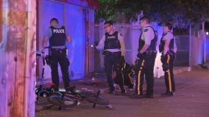 Mounties respond to a shooting that left two people in hospital early Thursday morning in Surrey. July 28, 2016. (CTV)
