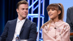 "Derek Hough, left, and Ariana Grande participate in the ""Hairspray Live!"" panel during the NBC Television Critics Association summer press tour in Beverly Hills, Calif. on Tuesday, Aug. 2, 2016. (Richard Shotwell / Invision)"