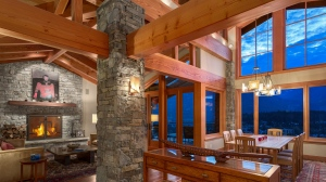 This striking three-storey residence is located in the exclusive neighbourhood of Sunridge Plateau, offering a sunny aspect and panoramic views of Sproatt and Rainbow mountains, the Whistler Golf course and Whistler valley. The ski-in residence makes an impressive statement with rustic stone walls and post and beam construction capturing the atmosphere of a European chalet. A total of 5 bedrooms, 6 bathrooms with two powder rooms, provides ample room to host friends and family close to the heart of Whistler Village and the world class amenities of the resort. (John Ryan PREC/realestateinwhistler.com)