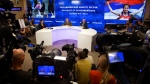 The President of the Russian Paralympic Committee Vladimir Lukin, background centre right, sits, during a news conference in Moscow, Monday, Aug. 8, 2016. (AP / Ivan Sekretarev)