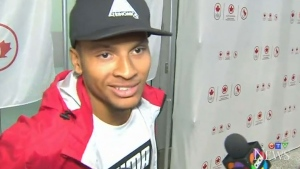Sprinter Andre De Grasse arrives home from Rio Games on Wednesday, Aug. 24, 2016.