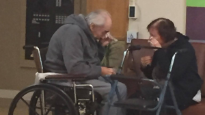 A photo of the couple wiping away tears at a recent visit has been shared nearly 11,000 times since Bartyik posted it on Facebook last week.