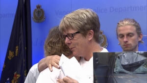 Ryan Barron's family members embrace during an emotional press conference at the Vancouver Police Department. Aug. 25, 2016. (CTV)