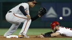 Washington Nationals' Bryce Harper safely steals second as Baltimore Orioles second baseman Jonathan Schoop waits for the throw during the fourth inning of a baseball game at Nationals Park in Washington on Thursday, Aug. 25, 2016. (AP / Alex Brandon)