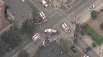 The scene of a crash on Davie Street is seen from CTV Vancouver's Chopper 9 on Monday, Aug. 29, 2016.