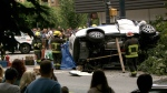 Two people were killed and three pedestrians were injured in a horrific SUV crash in downtown Vancouver on Aug. 29, 2016. (CTV)