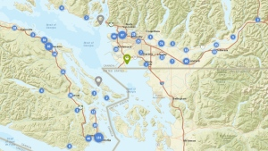 Metro Vancouver and part of Vancouver Island are shown on the B.C. government's child care map. (maps.gov.bc.ca)