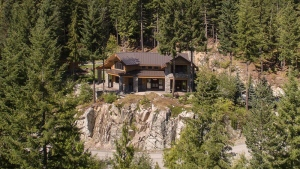 "Most people in the Vancouver area are struggling just to pay rent, but if you&#39;ve got more than $8 million in the bank, this luxury property in Whistler could be yours. <br> Located just across Alta Lake from Whistler Village, this six-bedroom estate is listed at $8.25 million. The open-concept wood-and-stone &#39;chalet&#39; is built on the slope of the surrounding mountains. There is also a guest house on the six-acre property.<br> The home has 6.5 bathrooms, floor-to-ceiling windows and a vaulted hemlock ceiling. Its six bedrooms are lined with New Zealand wool carpet, and the kitchen features &#39;rich limestone countertops,&#39; the listing says. <br> The home also has an outdoor living room, hot tub and built-in barbecue outside, and a media room with wine cellar and steam room inside. <br> (Photos from John Ryan PREC/<a href=""http://www.realestateinwhistler.com/real-estate-listings/"" target=""_blank"">realestateinwhistler.com</a>)"