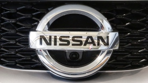 Nissan emblem at the Pittsburgh International Auto Show, on Feb. 11, 2016. (Gene J. Puskar / AP)
