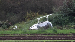 A helicopter was forced to make an emergency landing in a Langley farmer's field Saturday night. (CTV News). Sept. 25, 2016.