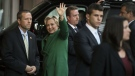 Democratic presidential candidate Hillary Clinton waves as she arrives for a meeting with Israeli Prime Minister Benjamin Netanyahu in New York, Sunday, Sept. 25, 2016. (AP / Matt Rourke)