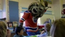 The Edmonton Oilers' mascot 'Hunter' the Canadian lynx is seen in this image from video. (YouTube / Edmonton Oilers)