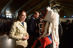 The Duke and Duchess of Cambridge greet native elders in Bella Bella, B.C., Monday, Sept. 26, 2016 as their royal visit to Canada continues. (THE CANADIAN PRESS/Jonathan Hayward)