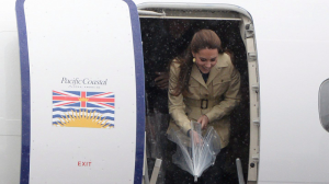 Day 3: Bella Bella. The Duke and Duchess of Cambridge were met with more than pristine wilderness on their tour of B.C.'s rugged central coast on Sept. 26, 2016. The region was drenched with heavy rains and pounded by gusting winds. The weather was so miserable for the third day of Prince William and Catherine's tour that several parts of the itinerary in the North Central coastal community were truncated or completely scrapped, including an aerial tour of the Great Bear Rainforest. The couple was also set to participate in a ceremony to add a ring of reconciliation to a ceremonial staff dubbed the Black Rod, in the B.C. Legislature. (Photos by The Canadian Press)