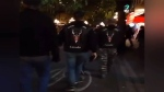 The Soldiers of Odin walk through the streets of Vancouver's Gastown neighbourhood in video that was uploaded to social media. (Matthew Nokes/Facebook)